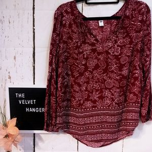 OLD NAVY LARGE FLORAL SPRING BLOUSE LONG SLEEVE